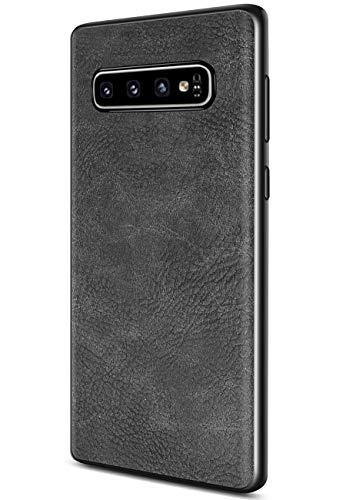 (Samsung Galaxy S10 Case, Salawat Slim PU Leather Vintage Shockproof Phone Case Cover Lightweight Premium Soft TPU Bumper Hard PC Hybrid Protective Case for Samsung Galaxy S10 (Black))