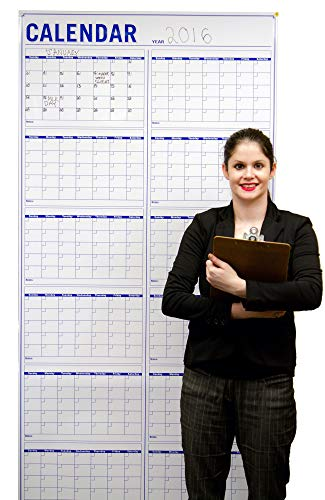 Large Dry Erase Wall Calendar -72 x36 Inch Vertical Jumbo Wet Erase Laminated 12 Month Planning Calendar - Calendars for Academic and Office Project Goals - Erasable Fiscal Year Wall Planner