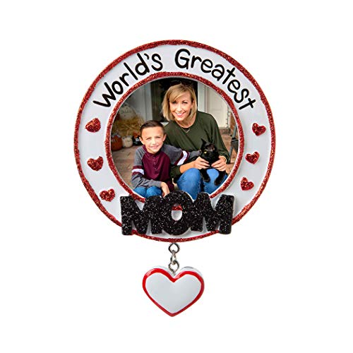 Personalized World's Greatest Mom Picture Photo Frame Christmas Tree Ornament 2019 - Glitter Heart Best Friend Love Tradition Special Forever Memory Display Milestone Gift Year - Free ()