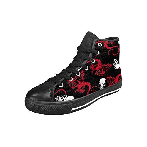 - INTERESTPRINT Women's Canvas Sneaker High Top Shoes Dragon Skull US7
