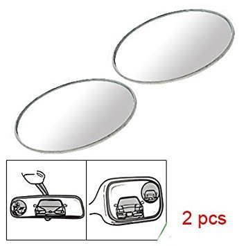 TOOGOO(R) 2 Pcs Round Stick-On Convex Blind Spot Mirror Set