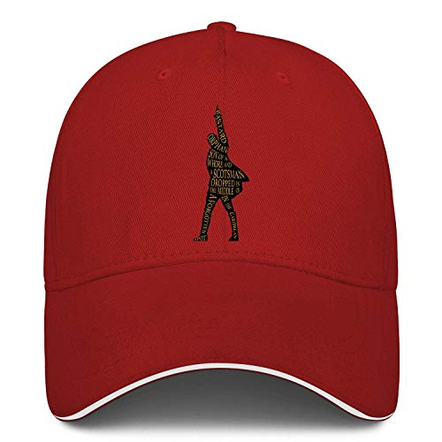 Unisex Classic Baseball Cap Hamilton Sandwich Hat Fits Men Women Hats Adjustable Metal Buckle Back Closure Caps Red
