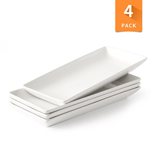 (Porcelain Serving Platter Rectangular Plate/Tray for Party, 14-Inch Large White Microwave And Dishwasher Safe Set of 4)