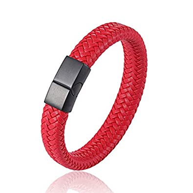 00d4da6528c25a AIDISHI Braided Leather Bracelets for Men Stainless Steel Black Wrist Cuff  Bangle (Red, 7.5