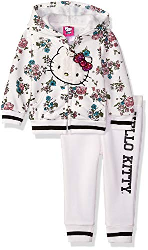 Hello Kitty Baby Girls 2 Piece Hooded Fleece Active Set, White Floral, 18 Months