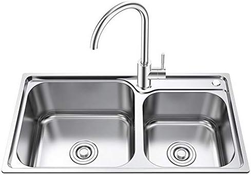 流し台 排水管を備えたプレミアムキッチンシンクスクエアステンレススチールダブルシンク キッチンシンク (Color : Silver, Size : 78x42cm)
