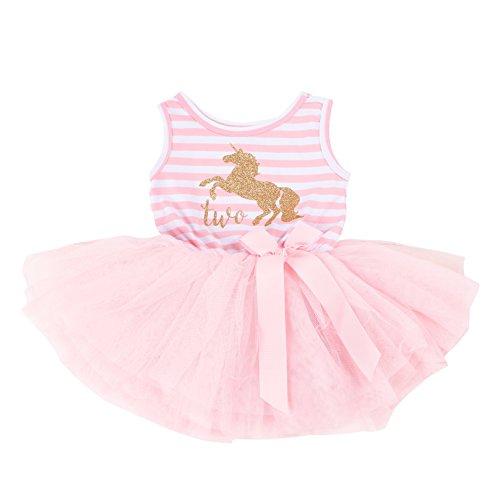Grace & Lucille Pink Striped Sleeveless Baby Birthday Dress (Unicorn Gold, 2nd Birthday (2T))]()