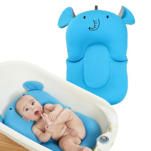 FUHUY Baby Bath Cushion Newborn Lounger Infant Sponge Pad Skid Proof Protect The Spine Put in Bathtub(Blue)