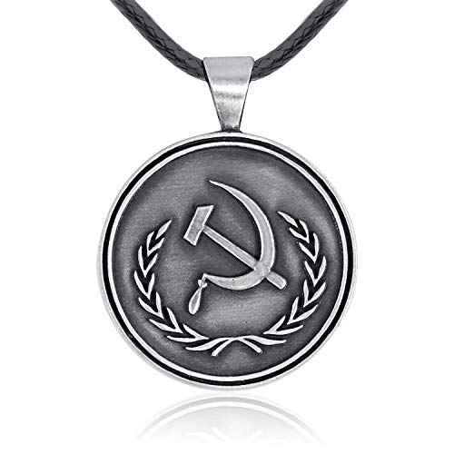 Namaste Jewelers USSR Soviet Union Communist Symbol Pendant Necklace Pewter Jewelry