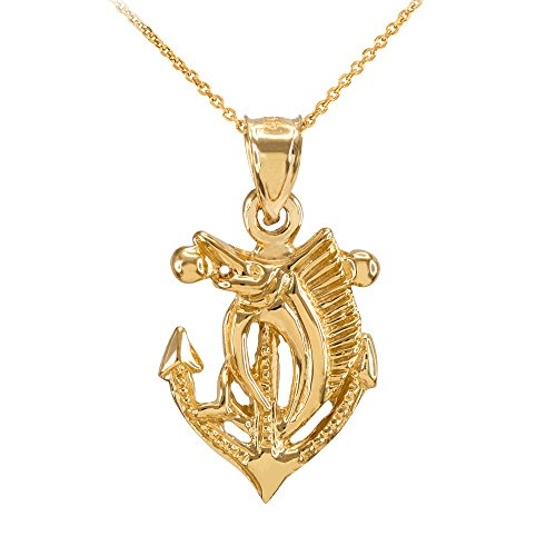 Fine 14k Yellow Gold Anchor with Marlin-Sailfish Pendant Necklace, 22