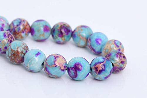 Imperial Jasper Beads - OutletBestSelling Bracelet Art Crafts 6MM Natural ICY Blue & Purple Sea Sediment Imperial Jasper AAA Round Beads 7.5