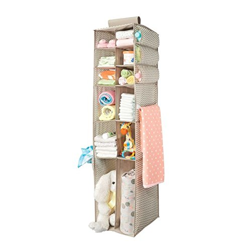 mdesign fabric hanging baby nursery storage organizer for clothing, blankets, diapers - 16 compartments, taupe/natural