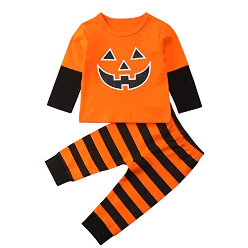 Newborn Baby Girl Boy Halloween Outfit Pumpkin face Printed Top Long Sleeve T-Shirt + Striped Pants 2Pcs Clothes Set (Orange, 90/6-9months)