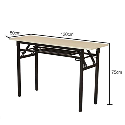 Portable Outdoor Camping Supplies 12060cm 2 Tier Computer Desks Heavy Duty Portable Folding Table for Company/Office/Garden/Beach/Camping Use in Oak Color (Color : Oak, Size : - Desk Mdf Oak