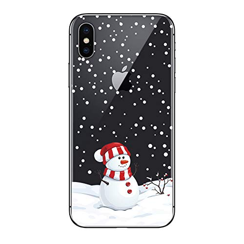Case for iPhone X/iPhone Xs (5.8 inch), Christmas Slim Silicone Clear Cell Phone Protective Cover Ultra Thin Flexible Transparent TPU Back Skin Xmas Snowman Pattern