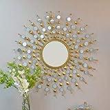 Furnish Craft Antique Sunburst Multiple Mirror Golden Mirror for Home Decor, Living Room, Bedroom (36 x 36 Inch, Golden)