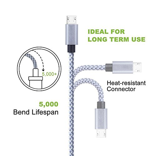 Asstar Android Charger Cable 3ft 6ft 10ft Extra much time Nylon Braided Micro USB huge rate Charging Cable for Samsung Galaxy S7 S6 S5 Edge Note 5 4 3HTCLGNexus Cell telephones Accessories