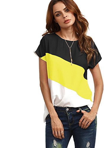 ROMWE Women's color block blouse short sleeve Casual Tee Shirts Tunic Tops Yellow/Black/White S