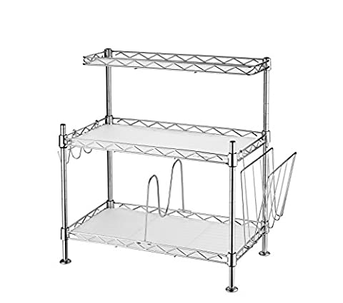 Adjustable Steel 3 Shelf Kitchen Cabinet and Counter Rack Storage Organizer with Hooks, Divider and Holder (Bathroom Stand Up Sink)