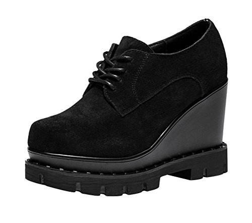 Passionow Women's Lace-up Round Toe Suede Vamp Fashion Platform Wedge Heel Oxfords Shoes (5.5 (Doc Holiday Costume For Sale)