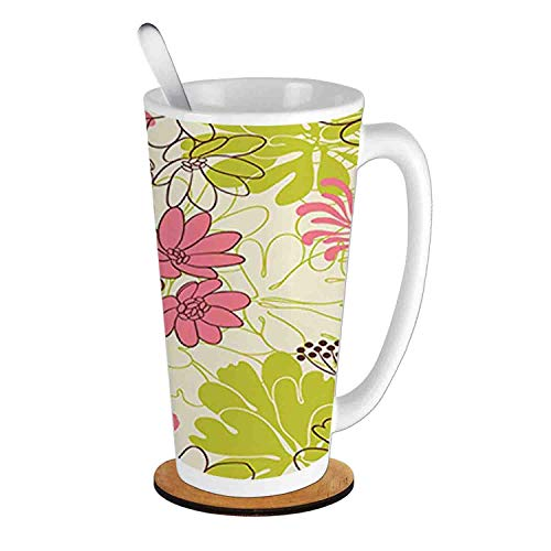(Petals in Vivid Contrast Nature Tone ,Eggshell Pink Apple Green;Ceramic Cup with Spoon & Round wooden coaster Milk Coffee Tea Mug 16oz gifts for family)