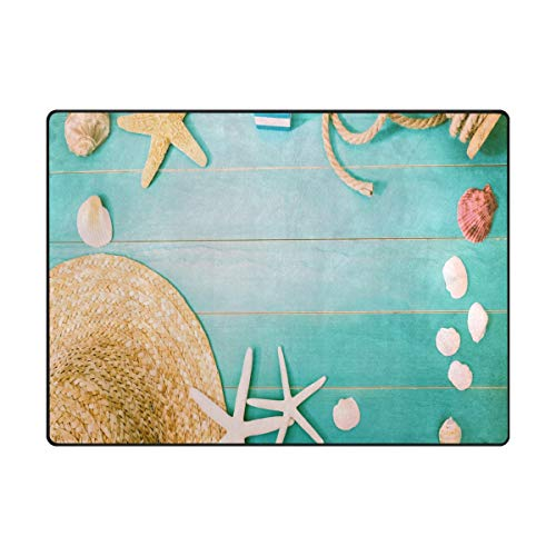 (Sea Shells and Straw Hat On Light Blue Wooden Area Rug Rugs Decorative Polyester Floor Mat with Non-Skid Backing 63x48 inch)