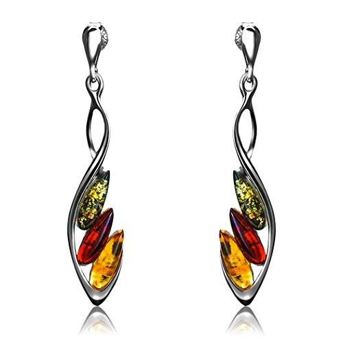 - Multicolor Amber Sterling Silver 3 Stones Stud Earrings