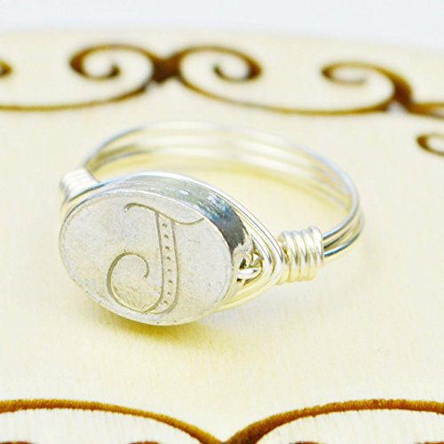 Any Letter/Initial Pewter Bead and Sterling Silver or Gold Filled Wire Wrapped Ring- Custom made to size 4 (Pewter Letter)
