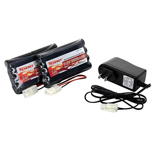 Tenergy 91031 9.6V Flat NiMH for RC Car, High Capacity 8-Cell 2000mAh Rechargeable, Replacement Hobby Pack with Standard Tamiya Connectors (2 Battery Packs + 1 Charger), - 700 New Replacement Mah