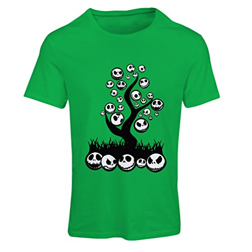 lepni.me T Shirts for Women The Nightmare Tree - Halloween Party Outfit (Medium Green Multi Color) -