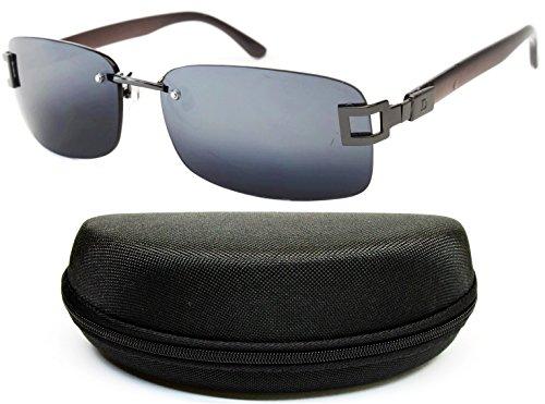 D682-cc Style Vault Shield Rimless Sunglasses (B3205F Gunmetal/grey-dark mirror, - Mirror Grey Dark