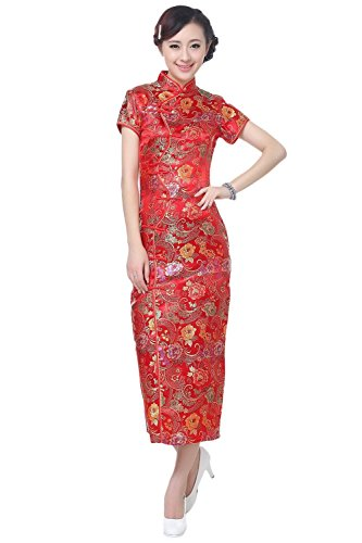 AvaCostume Women's Chinese Silk Floral Qipao Button Long Cocktail Dress Size US 6 Red