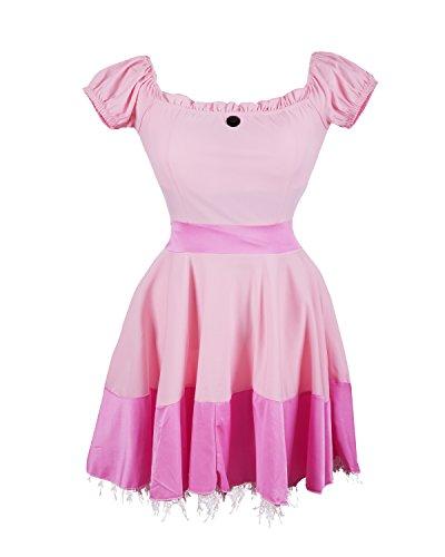 Prinzessin Peach schickes Kleid Kostüm von Emma's Wardrobe - beinhaltet pinkes Prinzessinnenkleid, Diadem und ein Paar lange weiße Handschuhe - Dornröschen Kleid oder Prinzessin Peach Kleid für Partys - EU Größen 36-42 (42, Pink)