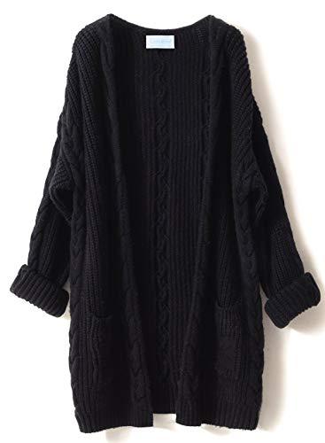 LONGMING Women's Cashmere Loose Casual Long Sleeve Open Fron