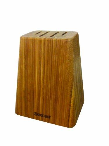 Kyocera Bamboo Knife Block Set: includes 4-slot Bamboo Block and 4 Kyocera Advanced Ceramic Knives-FK-Black Handle/White Blade by Kyocera (Image #3)