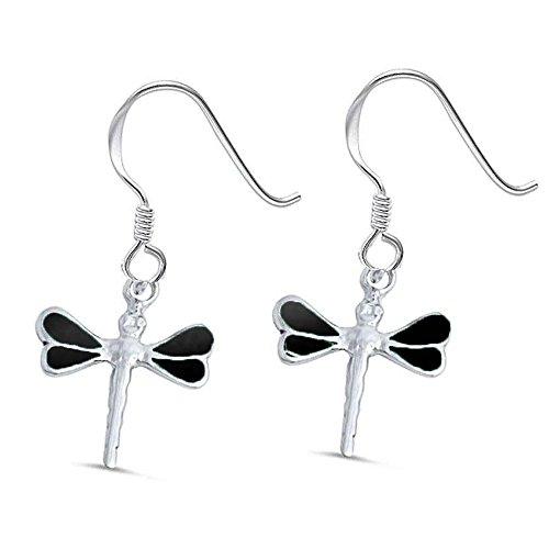 Sterling Silver Black Onyx Dragonfly Earrings ()