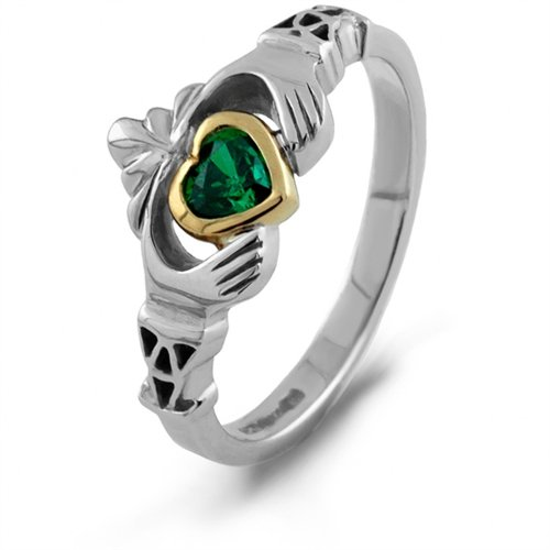 Sterling Silver Claddagh Ring 10k Yellow Gold Accent & Green CZ Size 6.5 by Boru
