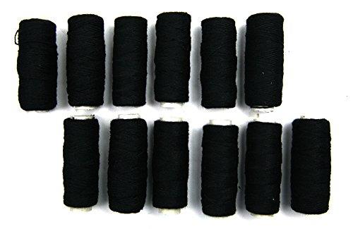 Crispy 12 Pieces High Quality Hair Weaving Thread Selection (Black)