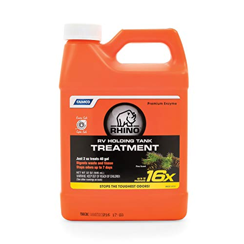 Camco 41513 Rhino Heavy Duty Holding Tank Treatment -Eliminates Tough Odors in Your RV Tote Tank for Up to 7 Days and Digests Waste and Tissue - Pine Scent , 32 oz