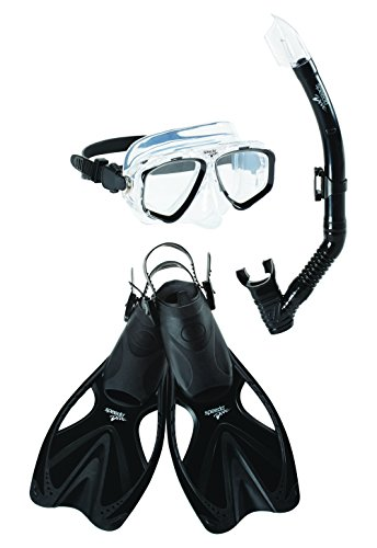 Speedo Adventure Mask Snorkel Fin Set, Black/Black, Large/X-Large ()