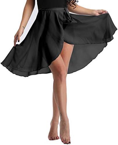 Adult One Size 2 Color DANCEYOU Dance Skirt Sheer Chiffon Ballet Wrap Skirt Ballet Dance-wear Tie Waist for Women