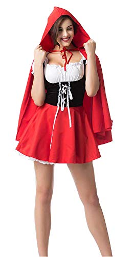 Moncey Women's Halloween Fairy Tale Little Red Riding Hood Costume for Cosplay Uniforms