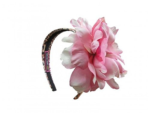 Jamie Rae Hats Leopard Hard Headband with Candy Pink Large Peony, One Size
