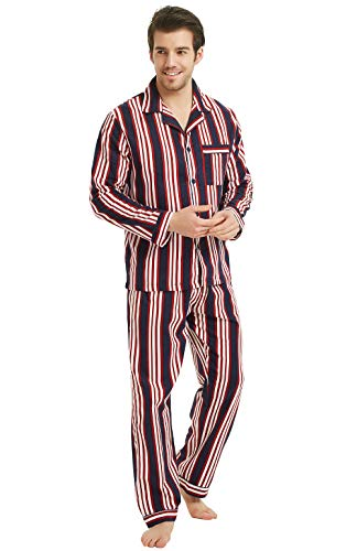 (GLOBAL Mens Flannel Pajamas, 2-Piece Warm Pj)