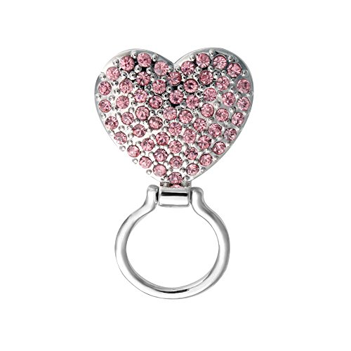 SENFAI Pink Crystal Heart Magnetic Clip Holder Magnetic Eyeglass Holder Brooch Jewelry by SENFAI