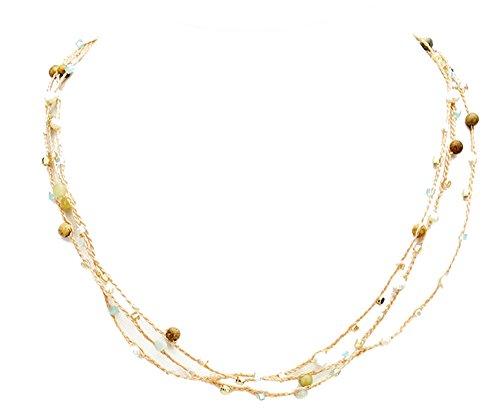 Women's Gold Tone Triple Strand Bead Necklace, 18