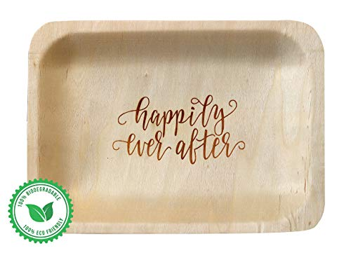 "Wood & Wonder Happily Ever After StatementWare Disposable Wedding Plates (50-Pack)—100% Natural, Eco-Friendly Alternative to Plastic Wedding Plates, Catering Plates and Dessert Plates (7.5"" x 5.5"")"