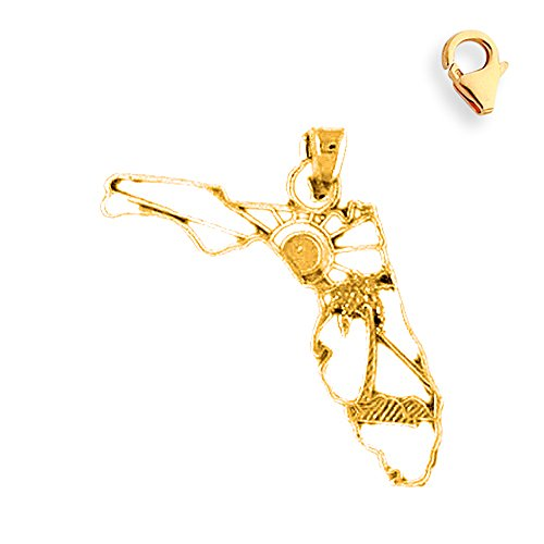 Jewels Obsession Florida Pendant | 14K Yellow Gold Florida State Charm Pendant - 23mm