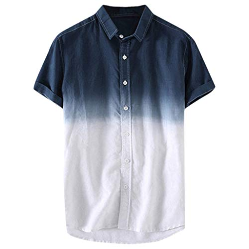 Trule Casual Shirts Summer Mens Print Shirts Casual Short Sleeve Beach Tops Loose Turn-Down Collar Blouse Navy