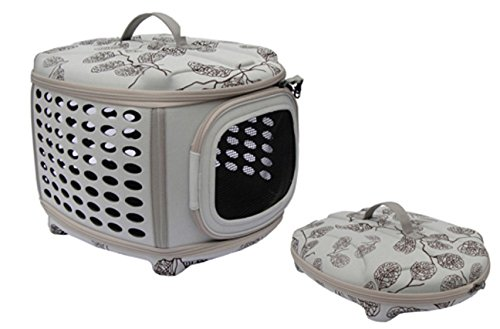 Iconic Pet Travel Carrier Lightweight, easy to Carry, 360° Ventilated Collapsible Zip-up Hard-Top with Handle for Indoor and Outdoor for Cats, Puppies / Small Dogs and Rabbits (for pets up - Collapsible Pet House